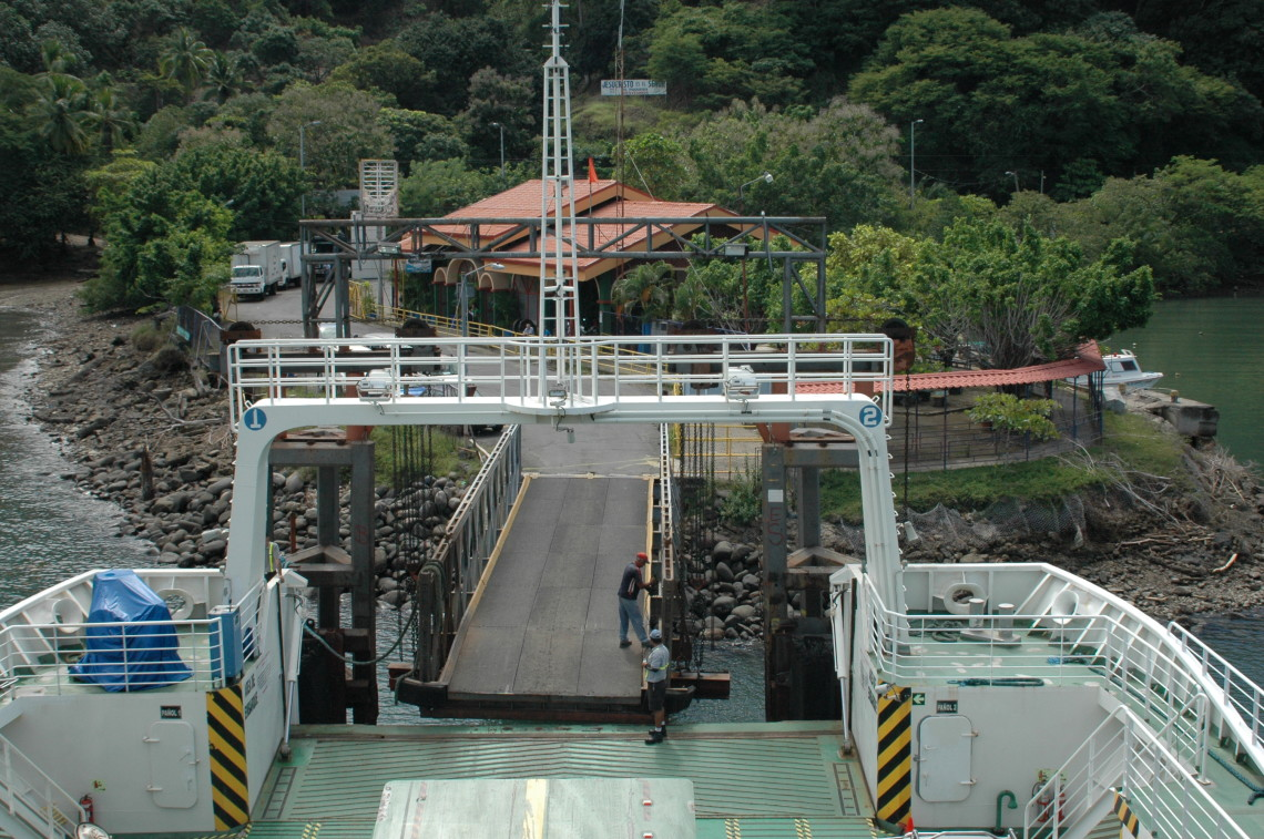 exiting the ferry at Paquera