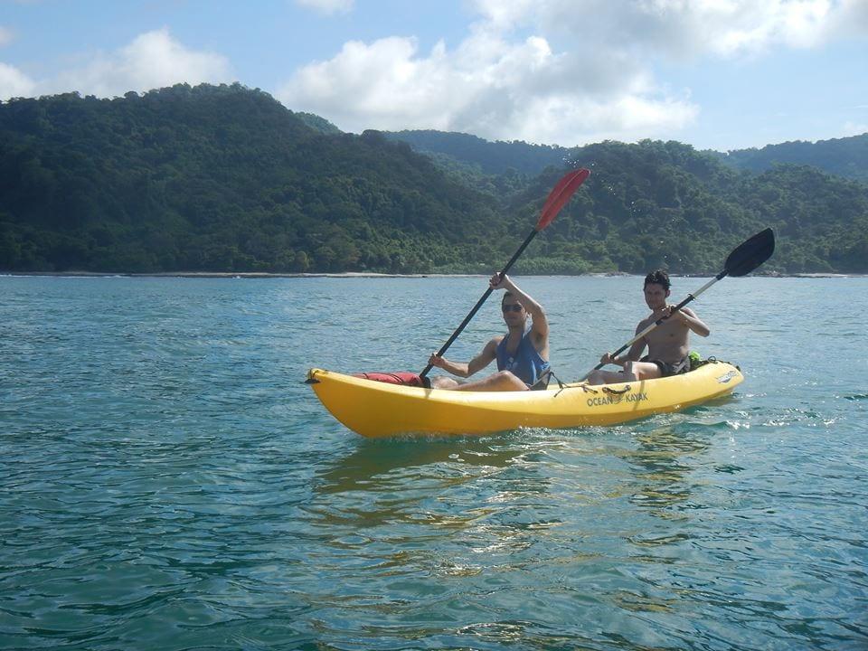 Sea kayaking in the ocean in Costa Rica